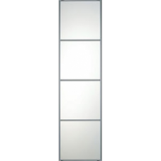 "SILVER FRAME MIRROR SLIDING WARDROBE DOOR 4 PANEL 610mm (24"")"